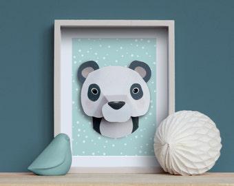 Panda - Kit créatif DIY Trophée animal en papier