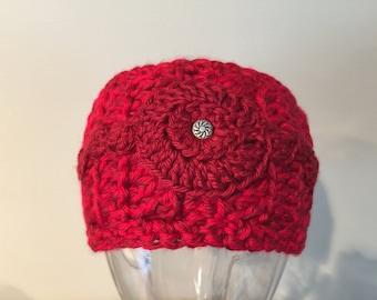 Headband, ear warmer, women, handmade, crochet, soft acrylic yarn, red, accessory