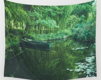 Monet Waterlilies Wall Tapestry, Giverny France Wall Art, Photo Tapestry, Monet, Boat, Green, Watergarden, Garden, Dorm