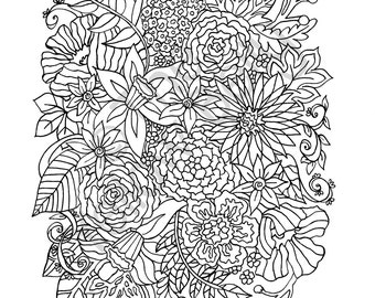 Flower Collage Coloring Page : Pin Flower collage colouring pages on Pinterest