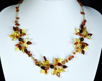 White amber necklace Baltic amber necklace White multicolor amber beads necklace Handmade amber necklace High quality amber