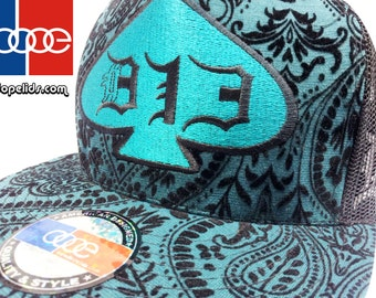 "Snapback Hat ""Blue Love"" Print D13 by dopelids Hip Hop DJ Flat Bill"