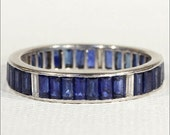 SALE Art Deco Sapphire and Diamond Eternity Band, Size 7.75 in Platinum