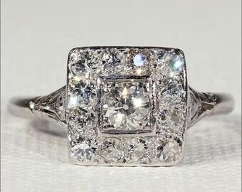 SALE Art Deco Diamond Engagement Ring, Square Halo Ring in Platinum, Vintage