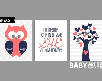 Coral, Navy Baby Girl Nursery canvas art prints, Owl, Let her sleep, Tree, Set of 3 8x10 ( S810196 )