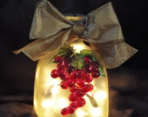 Decorative Hand Painted Bottle with Red Grape Cluster and Lights!