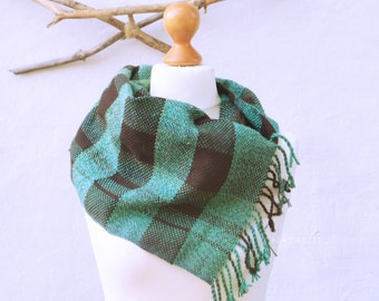 Handwoven scarf green-ombre-square-Woven Scarf-man scarf-accessory-woman scarf-r4eady to ship
