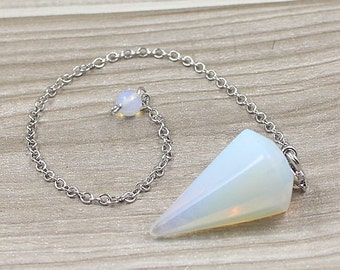 Opalite Point Pendulum Pendant -- Healing Crystal Point Pendant with Silver Plated bail Wholesale 1,3,5,10,50,100