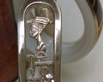 Vintage Egyptian hand crafted  silver Nefertiti cartouche  bangle bracelet