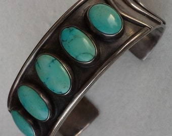 vintage native american old pawn sterling chevron design and sleeping beauty turquoise cuff bracelet