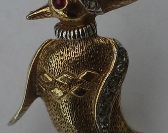 Vintage from Art:  Christmas pin/ brooch penguin  gold tone, silver tone and rhinestones