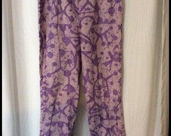 1950's White Stag Purple Atomic Novelty Print High Waisted Cigarette Pants