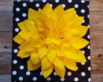 12x12 Black and White Polka Dot Felt Flower Canvas