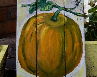 Pretty Painted Pumpkin on Wood
