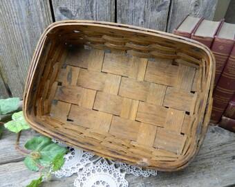 Antique Primitive Rectangle Potato Basket