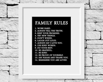 Family Rules Print, Family Rules Quote, Family Quote Print, Family Quote, Children Quote, Family Quote, Family Print, Nursery Print