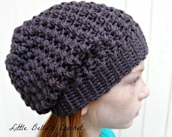Charcoal Crochet Slouchy Beanie