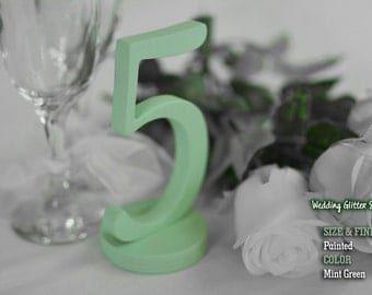 Wood Table Numbers, SET 1/15, Mint Green Table Numbers For Wedding,