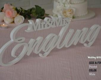 Custom Wedding Sign, Name Family Sign, Mr and Mrs LAST NAME, Mr & Mrs Free Standing Custom Wood Letters