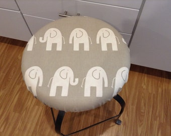 Round Fitted Barstool Seat Cover With Piping And Skirt In