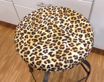 Elasticized round barstool cover, counter stool cover, leopard print brown with black cream washable cotton fabric, kitchen stool pad cover