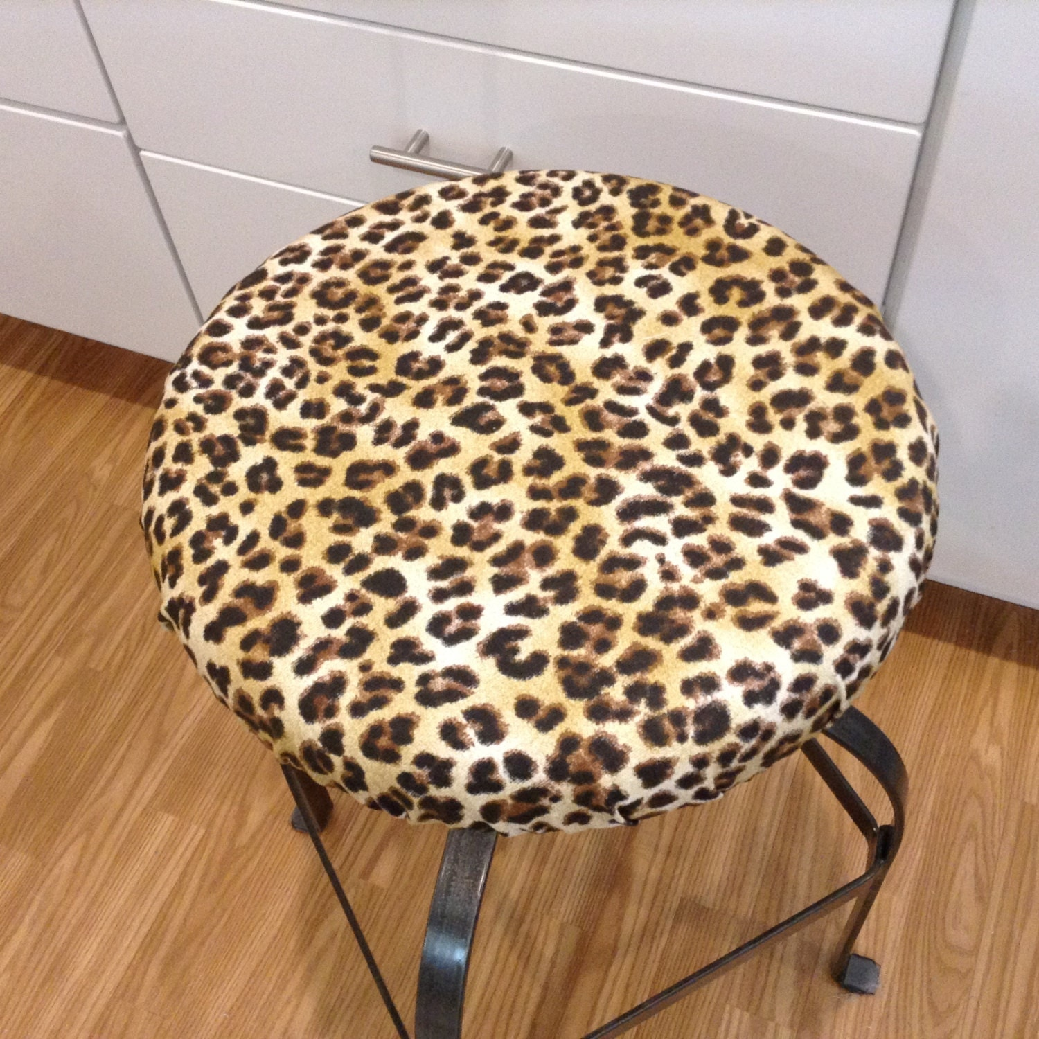 Elasticized Round Barstool Cover Counter Stool Cover Leopard