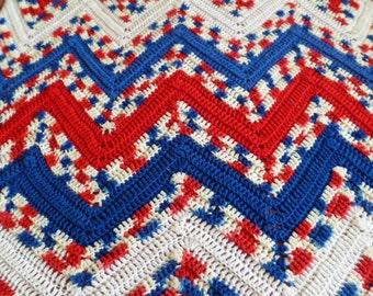 Vintage Crochet Afghan Red White Blue Handmade