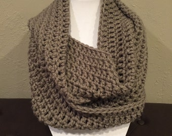 Crochet Infinity Taupe Grey Cowl Scarf