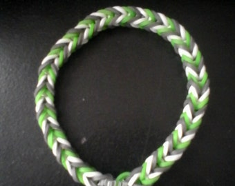 Green,white and grey rubber band bracelet