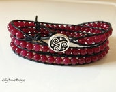 Deep Red Jade Wrap Bracelet Black Leather Wrap Bracelet Cuff Bracelet CUSTOM ORDERS TAKEN