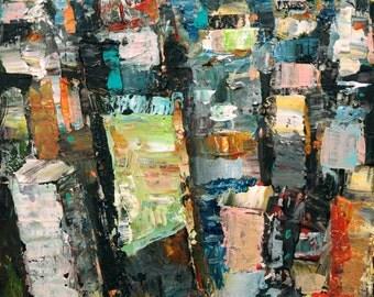 Original Painting, New York Painting, Cityscape Painting, 24 x 24 Original Abstract Painting, Original NYC Painting Art Acrylic Painting