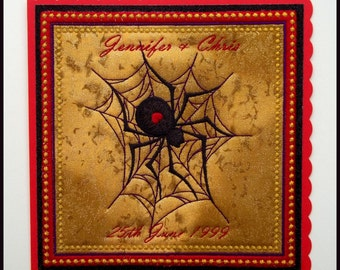 Machine embroidered, personalised, Gothic, Black Widow spider and web, fabric art card, greeting card, wedding, anniversary,  8in x 8in.