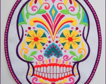 Machine embroidered, Dia de los Muertos,sugar skull,day of the dead patch, iron or sew on option,white\silver sparkle fabric,9.5in x 7.75in.