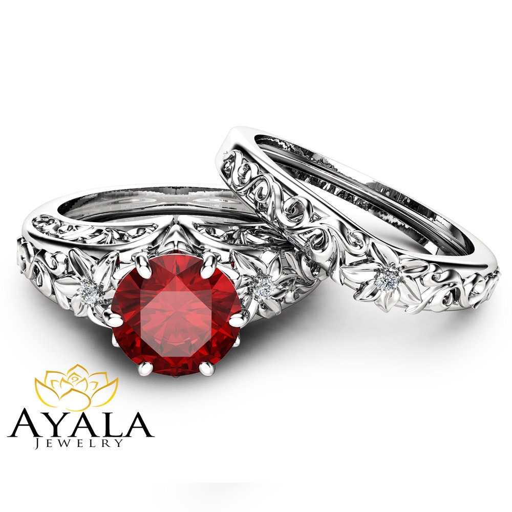 Natural Ruby Engagement Ring Set Wedding Ruby Ring with