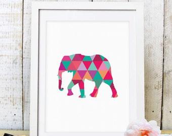 30% OFF SALE Triangle Elephant Print, Geometric Art, Animal Geometric Art Print, Elpehant Art, Elephant Print, Triagle Animal, Printable Art