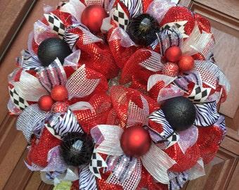 Deco Mesh valentine Wreath Red Black valentines day Wreath