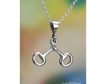 """Sterling Silver Snaffle Bit Necklace 16-24"""" or Pendant Only Horse Bit"""