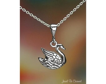 "Sterling Silver Pretty Swan Necklace with 16-24"" Chain or Pendant Only"