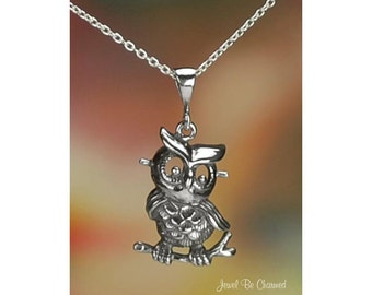 "Sterling Silver Retro Style Owl Necklace 16-24"" Chain or Pendant Only"