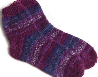 Hand knitted ladies socks with multicolor socks yarn.Size EU38-39 US -7-8