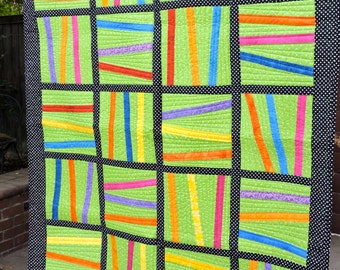 Rainbow Stripes Black & White Polk a Dots Children's Quilt