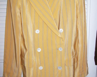 Blazer 12,  Elllen Tracy Silk Double-Breasted Blazer PinStriped  Lemon Sherbet Size 12
