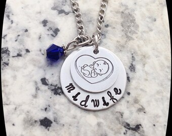 Doula or Midwife Gift, Doula Jewelry, Midwife Necklace, Baby, Birth, Gift, Hand Stamped, Doula Professional Necklace