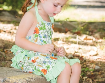 Vintage Style Ruffled Romper, Girl Romper, Custom Boutique Children Clothing, Kids Clothes
