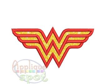 Wonder Woman Logo <6 sizes included: 3x3, 4x4, 5x7, 6x10 Plus vertical 5x7 6x10> Applique Design Embroidery Machine -Instant Download File