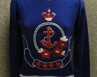Vintage sailor nautical theme red, white and blue sweater, rockabilly, retro, size medium