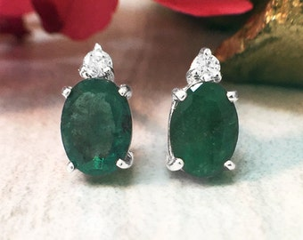 5x7MM Emerald and Diamond Stud | Prong Setting | Solid 14K White Gold | Colored Stone Earrings | Fine Jewelry | Free Shipping