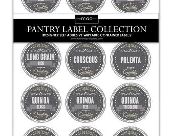 12 Set of Staples Pantry Label Collection - Retro