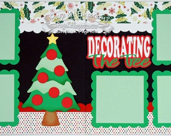 Scrapbook Page Kit Christmas Decorating The Tree 2 page Scrapbook Layout Kit 019