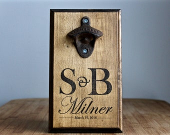 Personalized Wall Mount Bottle Opener Rustic... Bride & Groom Initials, Last Name, Wedding Date... Request a custom order!
